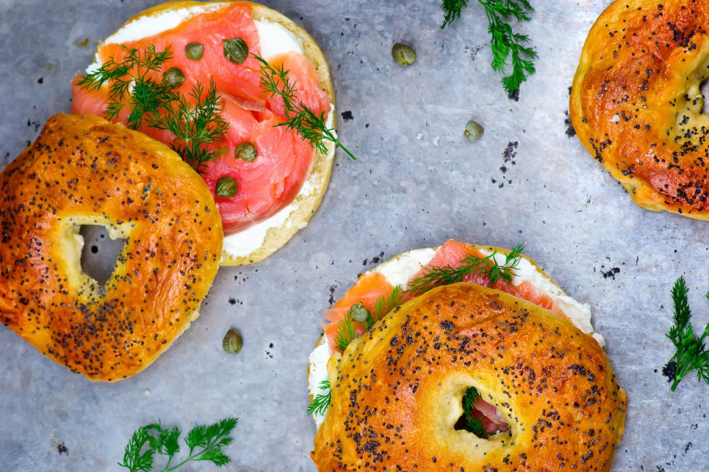 DOM Specialty. Bagel with a smoked salmon and cream cheese