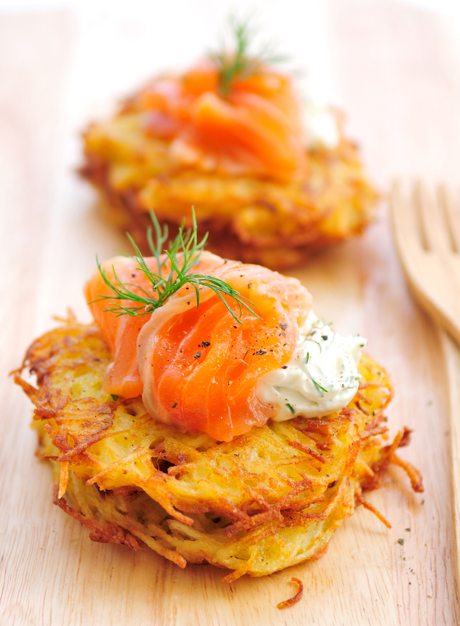 Smoked salmon, potato rosti or hash browns, cream cheese, chives. A delicious and healthy breakfast!