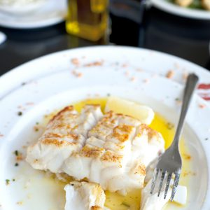 Fillet of Seabass in lemon, butter, cream sauce. A healthy, elegant entree.