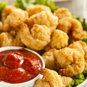 Organic breaded shrimp with cocktail or fry sauce. Great for kids!