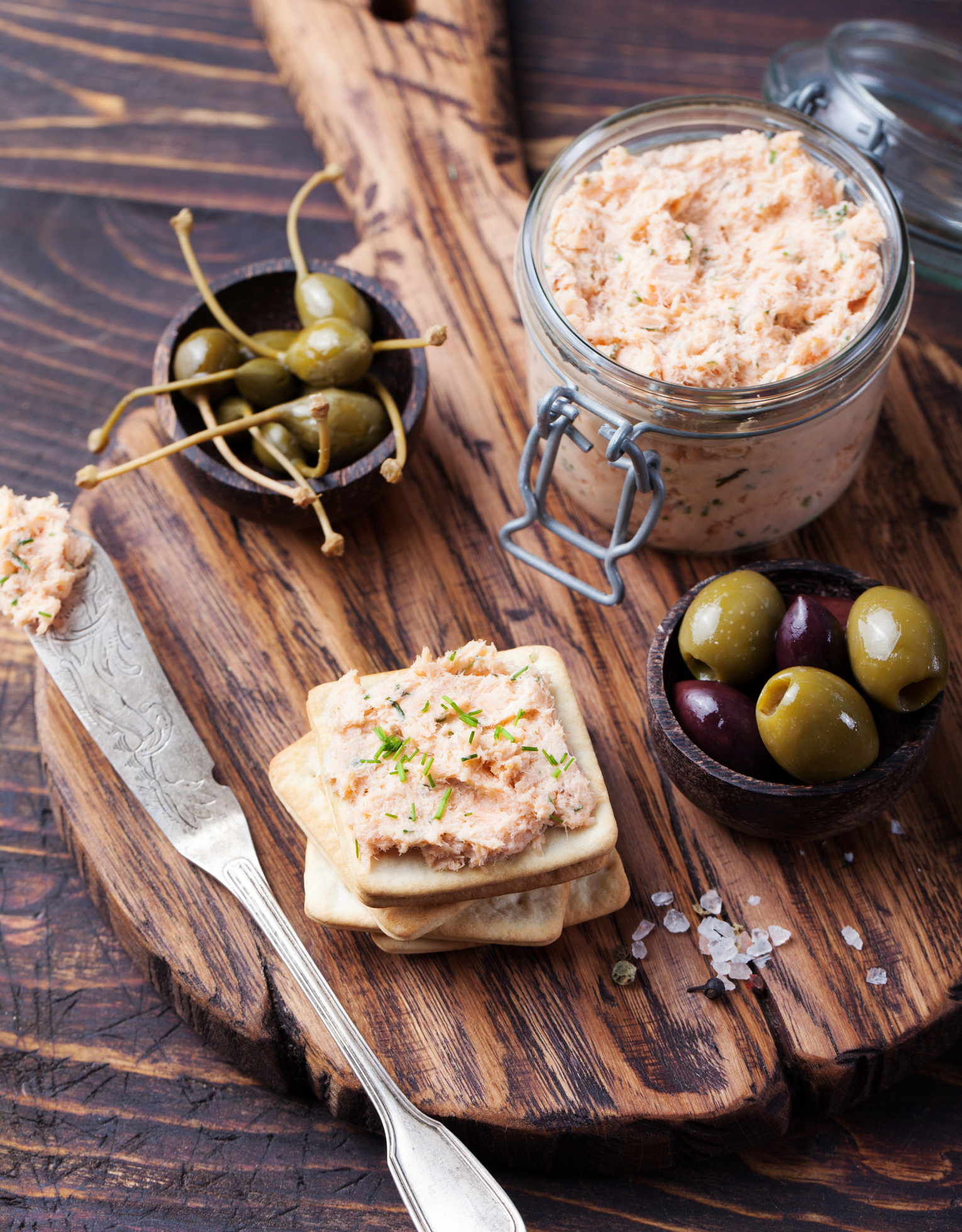 Roasted salmon dip with anchovies, capers, lemon, dill, black pepper, mayo.